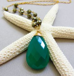 Green Onyx Necklace accented with faceted Golden Pyrite Rounds in 14k Gold! Classic and Chic!