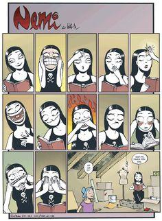 """ Nemi by Lise Myhre Web Comics, Funny Comics, Nemi Comic, Goth Memes, Cartoon Clip, All The Things Meme, Humor Grafico, Funny Short Videos, Stupid Funny Memes"