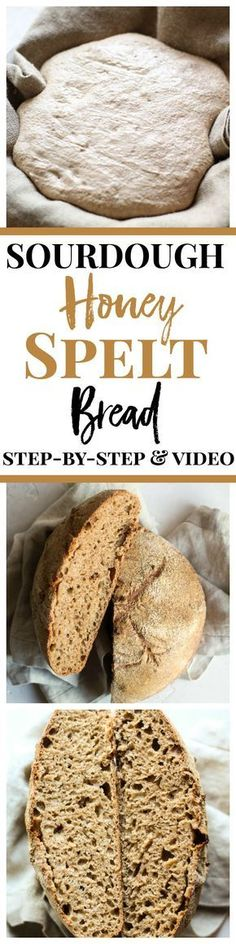 Sourdough Honey Spelt Bread recipe with step-by-step and a video! This earthy and hearty artisan spelt bread may just be the best whole grain bread in the world! Spelt Recipes, Artisan Bread Recipes, Sourdough Recipes, Sourdough Bread, Cooking Recipes, Flour Recipes, Drink Recipes, Monkey Bread, Best Whole Grain Bread