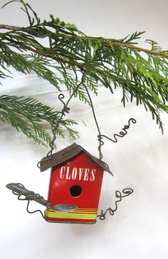 Vintage Spice Tin Birdhouse Christmas Tree by thedustyraven