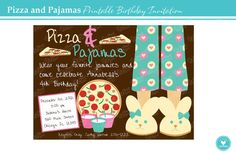 Hey, I found this really awesome Etsy listing at https://www.etsy.com/listing/159263615/pizza-and-pajamas-birthday-invitation