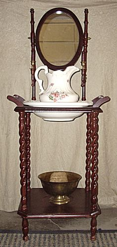 Perfect Old Red Mahogany Washstand,pitcher And Basin❤❤❤