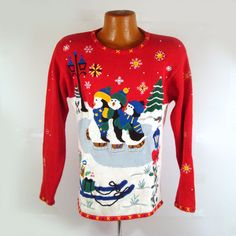 Ugly Christmas Sweater Vintage 1980s by purevintageclothing Penguins Ice Skating Holiday Party Tacky