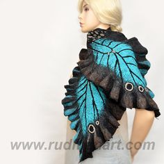 Felted Wool Silk Butterfly Scarf/Wrap/Shawl made from by RudmanArt, $139.00