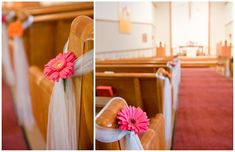Simple and lovely church pew decor. And it's the flowers I want!