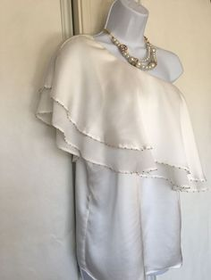 62e150ed Willow and Clay Blouse Top Embellished Size M White One Shoulder Ruffle  Neck #WillowAndClay #