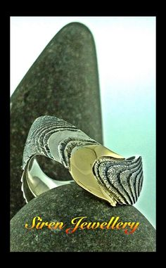 Siren Jewellery Sterling Silver and 18ct Yellow Gold Cuttlebone Cast Ring.