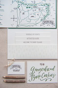 Summer Camp Wedding Invitations by Gus & Ruby Letterpress | gusandruby.com (featured on Oh So Beautiful Paper) Calligraphy by Lindsay Letters