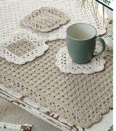 FREE Crochet Pattern   #DIY Placemats and Coasters   Supplies available at Joann.com