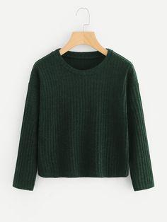 #xmas #Christmas #ROMWE - #ROMWE Drop Shoulder Ribbed Knit Sweater - AdoreWe.com