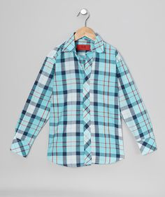Take a look at this Elie Balleh Turquoise & Red Plaid Button-Up - Toddler & Boys on zulily today!