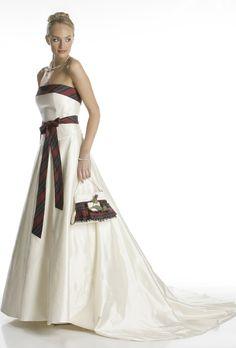 Highland wedding dress with tartan accents