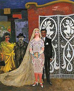 """Ramona's Wedding"" by Antonio Berni Arte Latina, Latino Artists, Frida And Diego, Social Realism, Art Station, Couple Art, Traditional Art, American Art, Art Boards"