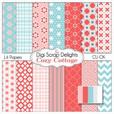 Cozy Cottage Scrapbook Paper for Digital by DigiScrapDelights cottage chic, shabby chic, blue pink, red