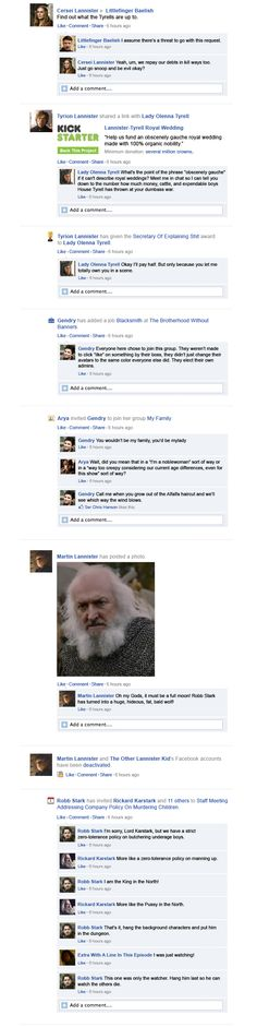 Game Of Thrones Facebook Recap Season 3 Episode 5   Happy Place