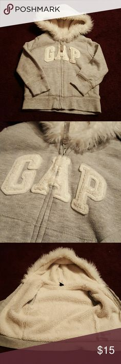 Baby Gap gray and white coat Adorable Baby Gap gray and white fluffy coat. 2 years toddler size. Baby Gap Jackets & Coats