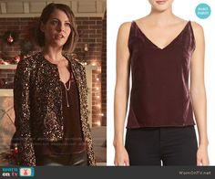 Thea's burgundy velvet top on Arrow.  Outfit Details: http://wornontv.net/54839/ #Arrow