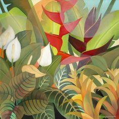 My Garden 4 Ft x 4 Ft oil on canvas 2014 Art Floral, Jungle Art, Different Forms Of Art, Forest Art, Tropical Art, Yellow Painting, Leaf Art, Native Art, Botanical Art