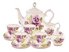 This bone china tea set is part of the Purple Pansy collection. Come see the English Tea Store's array of gorgeous teaware, as well as our vast assortment of teas, chocolates, biscuits, and cakes imported from the United Kingdom. English Tea Store, China Tea Sets, Tea Gifts, Tea Service, How To Make Tea, Fine China, Pansies, Daffodils, Metal