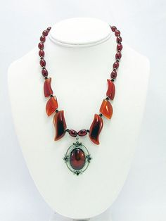 Carnelian Pendant Necklace with Matching Earrings  by daksdesigns