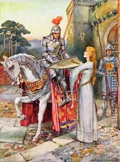 Sir Lancelot Gives His Shield Into Elaine's Keeping by Arthur A Dixon