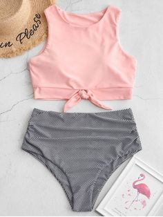 Buy ZAFUL Striped Knotted Ruched Tankini Swimsuit in the online store - TopTrendBrand Bikini Sets, Push Up Bikini, Bandeau Bikini, Bathing Suits For Teens, Cute Bathing Suits, Women's Swim Tops, Bathing Suit Bottoms, Bikini Outfits, Mode Vintage
