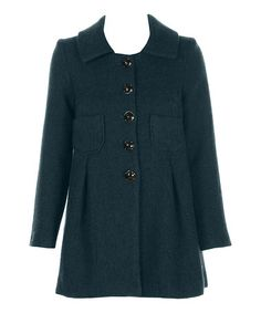 Another great find on #zulily! Teal Edie Wool-Blend Coat #zulilyfinds