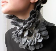 Grey Bird  Felted Scarf and Flower Brooch  made from by vaivanat