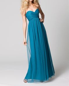 Hot Sale Sexy Sweetheart Ruched Chiffon Turquoise Floor