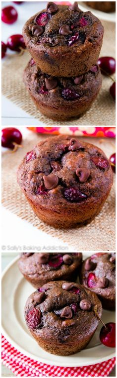 Chocolate Cherry Muffins -  Moist, fudgy 110 calorie chocolate muffins filled with juicy cherries.