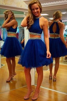 Sparky Two Pieces Prom Dresses 2016 Royal Blue Short Party Evening Gowns Crew Neck Crystals Beaded Pageant Dresses Homecing Online with $130.9/Piece on Caradress's Store | DHgate.com