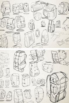 Backpack sketches by DAAP student Rance Pritchard