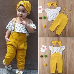 Toddler Baby Girls Kids Clothes Off Shoulder Floral print sleeveless Ruffle pullover Tops strap solid Trousers cotton outfit - Children's fashion - Kids Dress Wear, Kids Outfits Girls, Little Girl Dresses, Girl Outfits, Baby Girl Fashion, Toddler Fashion, Kids Fashion, Style Fashion, Fashion Games