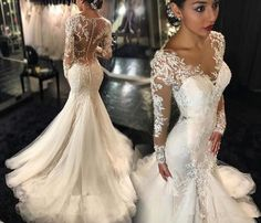 Galia Lahav Mermaid Wedding Dresses Sexy Vestido De Novia 2016 Plus Size Lace Long Sleeves See Through Back Chapel Train Bridal Gowns from crystaldress2013, $180.91 | DHgate Mobile