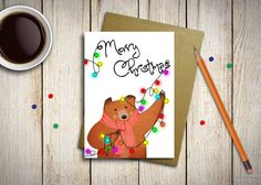 Card for Merry Christmas wishes with kraft by aCupOfCreativity