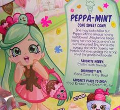 New Shopkins Shoppies Peppa-Mint - Toy Box Chest Shopkins Girls, New Shopkins, Shopkins Season, Shoppies Dolls, Shopkins And Shoppies, Cupcake Queen, Sweet Cones, 10th Birthday Parties, Tumblr