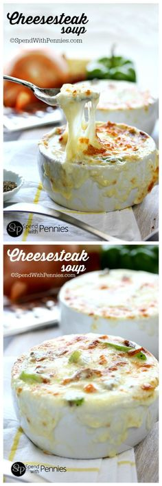 Baked Cheesesteak Soup! Loaded with beef, peppers and cheese this creamy cheesy soup recipe is a great twist on an old favorite; creamy, cheesy, and so satisfying!: