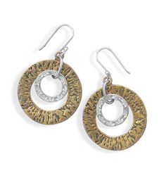Two Tone Circle Drop Earrings