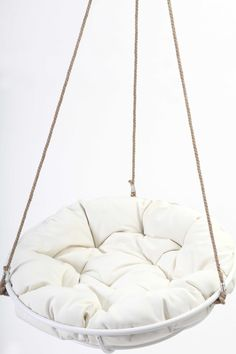 Cool Hanging Papasan Chair For Your Beloved Family: Cozy White Framed Hanging Papasan
