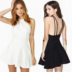 Sexy Women's Club Backless Sling Strap Back Mini Skating Cocktail Party Dresses