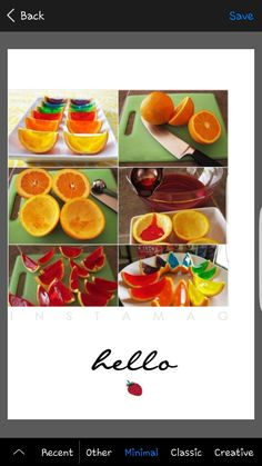 Orange Jelly Shots: Cut oranges in half and scoop out their flesh. Mix jelly in hot water and pour in each orange cup one. Let them set in fridge and cut into wedges when ready. Healthy Eating Tips, Healthy Nutrition, Köstliche Desserts, Delicious Desserts, Fun Drinks Alcohol, Jelly Shots, Good Food, Yummy Food, Vegetable Drinks