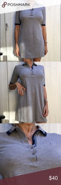 Lacoste 🐊Polo style mini dress, cotton picquet, S Gray traditional cotton polo style Lacoste mini dress . 100% cotton picqué . Traditional Alligator sewn on right side. So comfy and cool! Casually wear it anytime or even playing golf or tennis!!! EXCELLENT CONDITION ! Only wore it one time!!!! Lacoste Dresses Mini
