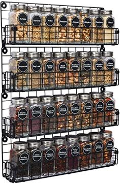 Amazon.com: Spice Rack Organizer Wall Mounted 4-Tier Stackable Black Iron Wire Hanging Spice Shelf Storage Racks, Great for Kitchen and Pantry Storing Spices, Household Items, Bathroom and More(Patent Pending): Kitchen & Dining Spice Rack Organiser, Storage Racks, Storing Spices, Spice Shelf, Iron Wire, Patent Pending, Wall Organization, Household Items, Kitchen Pantry