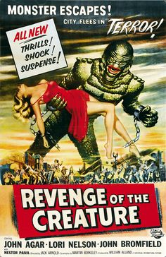 Horror Movies, The Creature from the Black Lagoon, Revenge of the creature classic movie poster, Polka Dots and Champagne, Kristina Louise Cabaleiro
