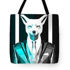 Sly Fox Tote Bag Animal Print Beach Bag Blue Shopping Bags $23.50 by Filip Aleksandrov
