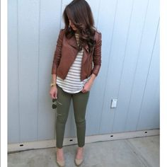 """Olive skinny jeans Olive colored skinny jeans or """"jeggings"""" from Maurices. They have some stretch to them. The length is a regular length. Size is a Medium which is like a 7/8 at Maurice's. **I do not own the first 2 photos, only used for styling purposes.** Maurices Jeans Skinny"""
