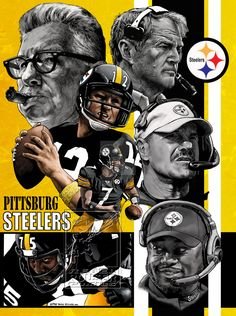Pittsburgh Steelers, Nathan Milliner artwork found on deviant art page; Nice. note; Noll, Rooney, Bradshaw, Cowher, Tomlin, Greene, BigBen seen in pic i think