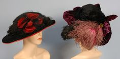 TWO LADIES' WIDE BRIM VELVET HATS, 1900-1920.