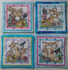 Embroidery Art, Coasters, Facebook, Coaster Set