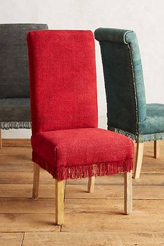 Fringed Dhurrie Dining Chair  $249.95 (available in cherry and teal)
